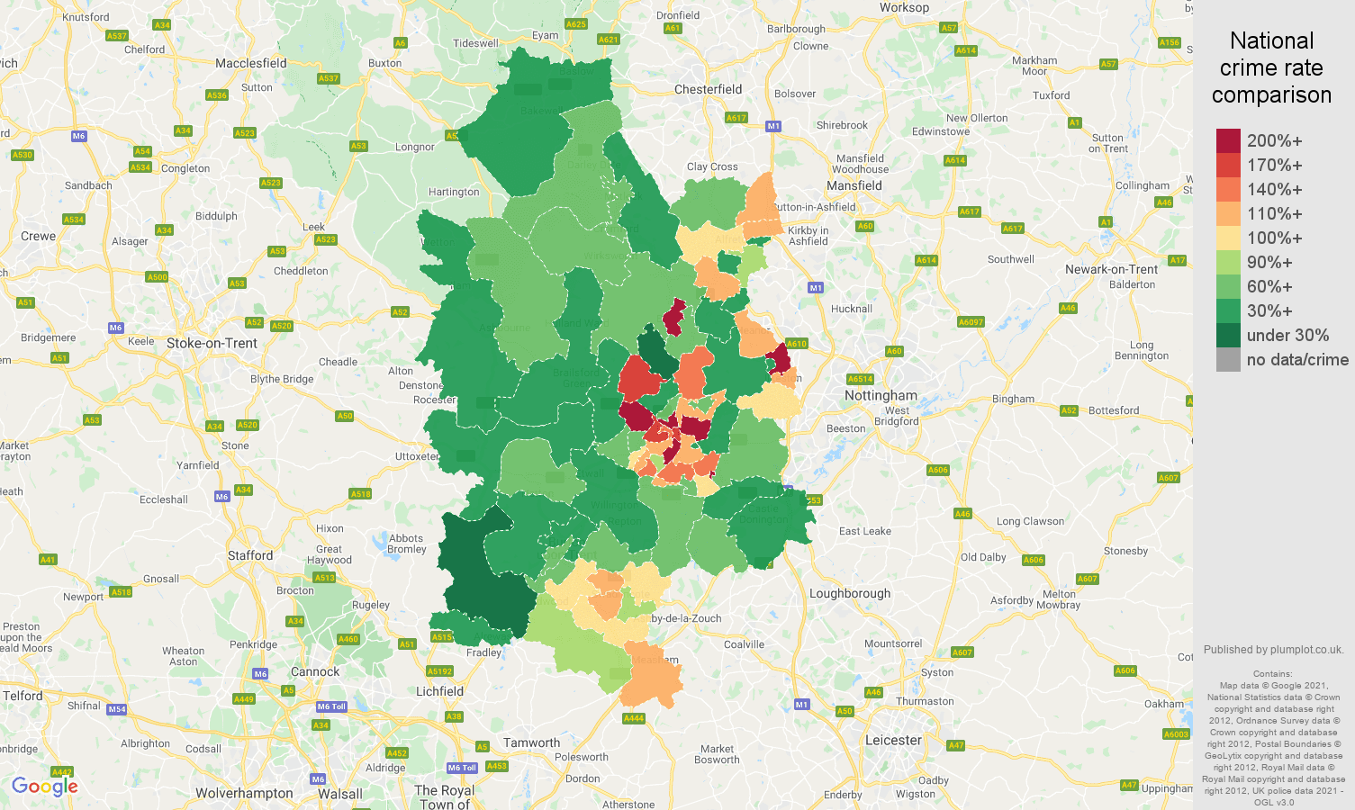 Derby criminal damage and arson crime rate comparison map