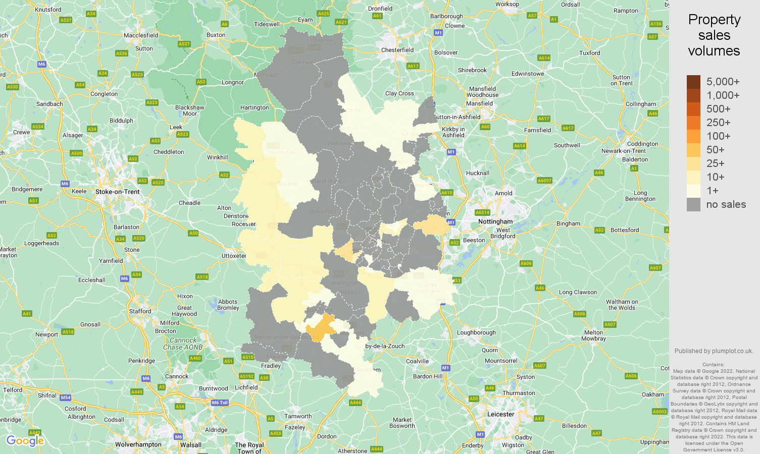 Derby map of sales of new properties