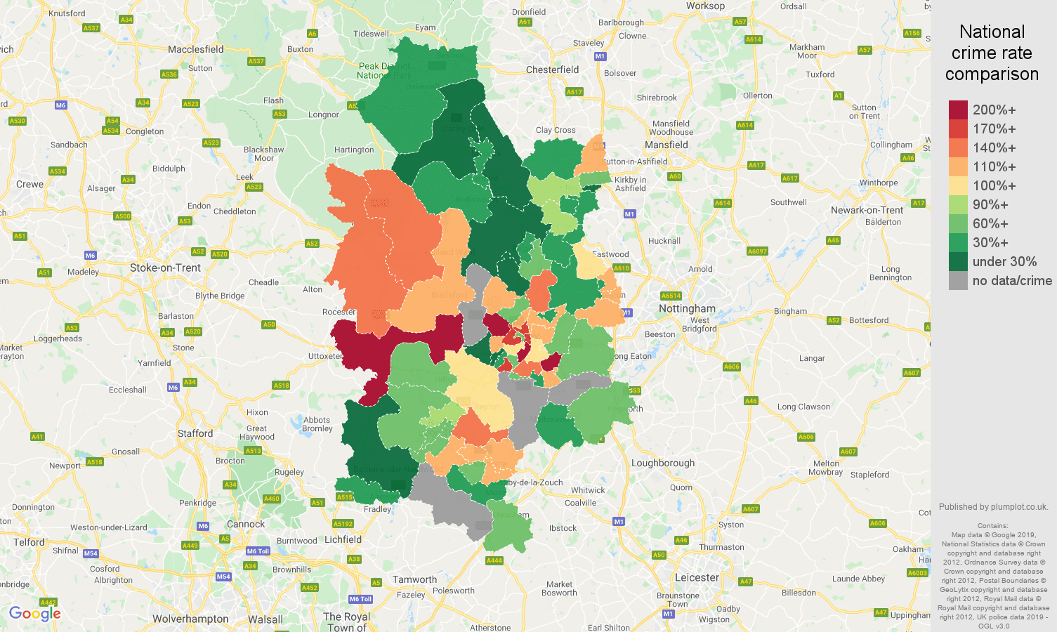 Derby other crime rate comparison map