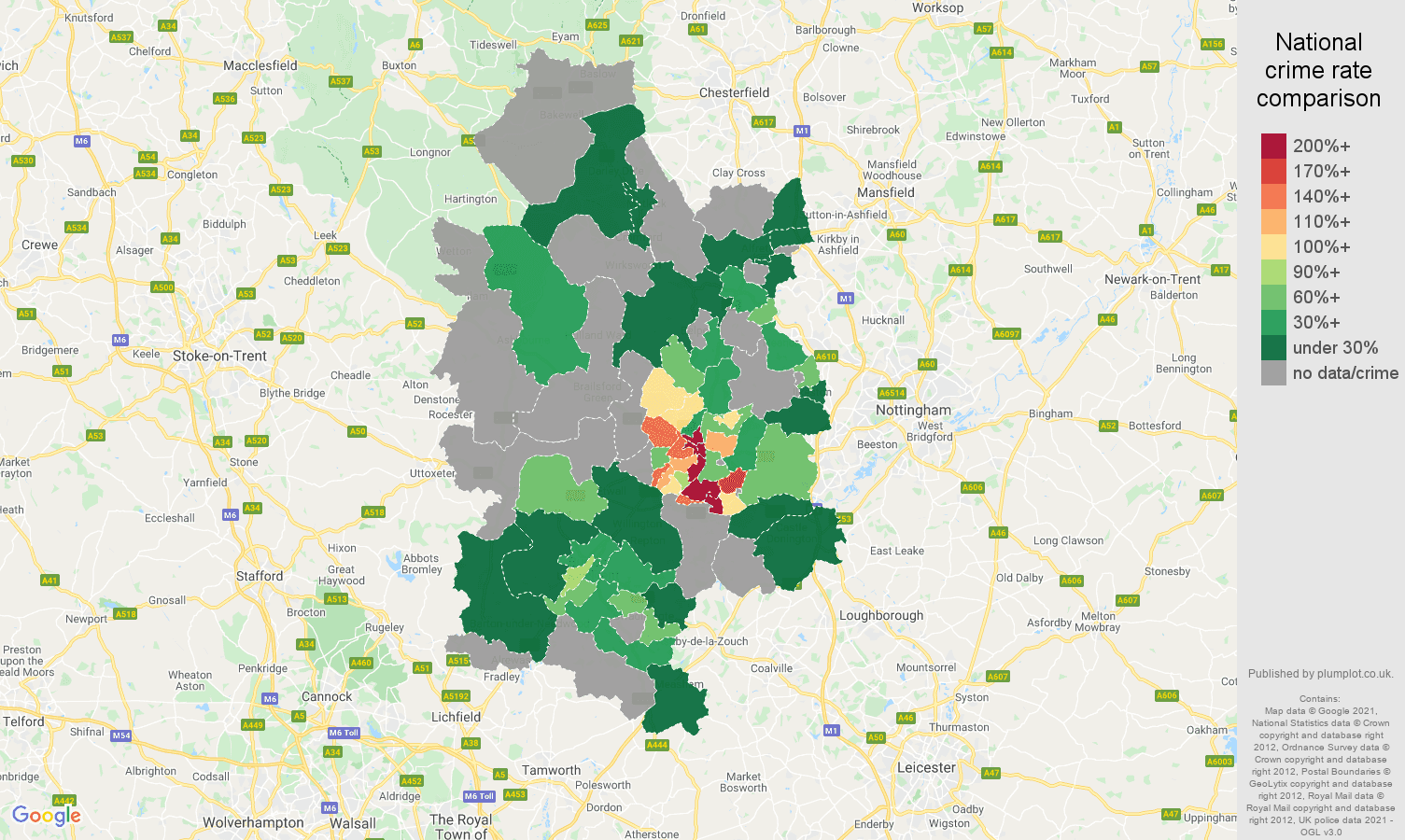 Derby robbery crime rate comparison map