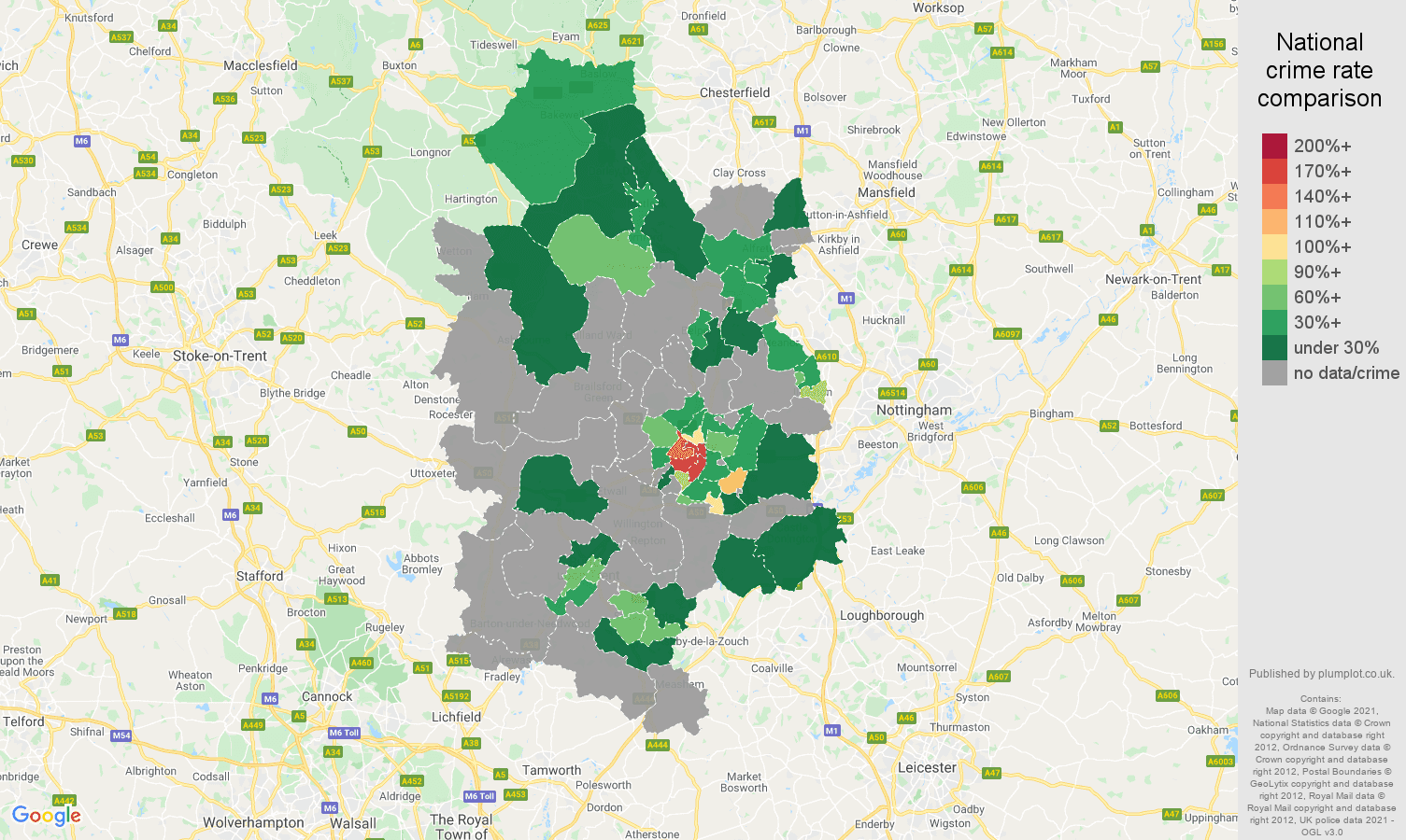 Derby theft from the person crime rate comparison map