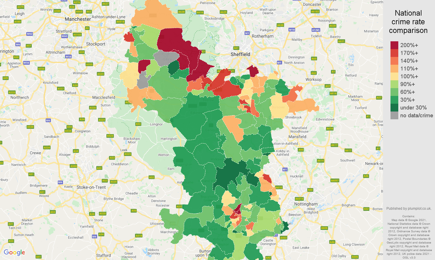 Derbyshire burglary crime rate comparison map