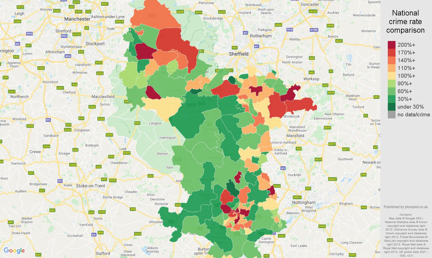 Derbyshire criminal damage and arson crime rate comparison map