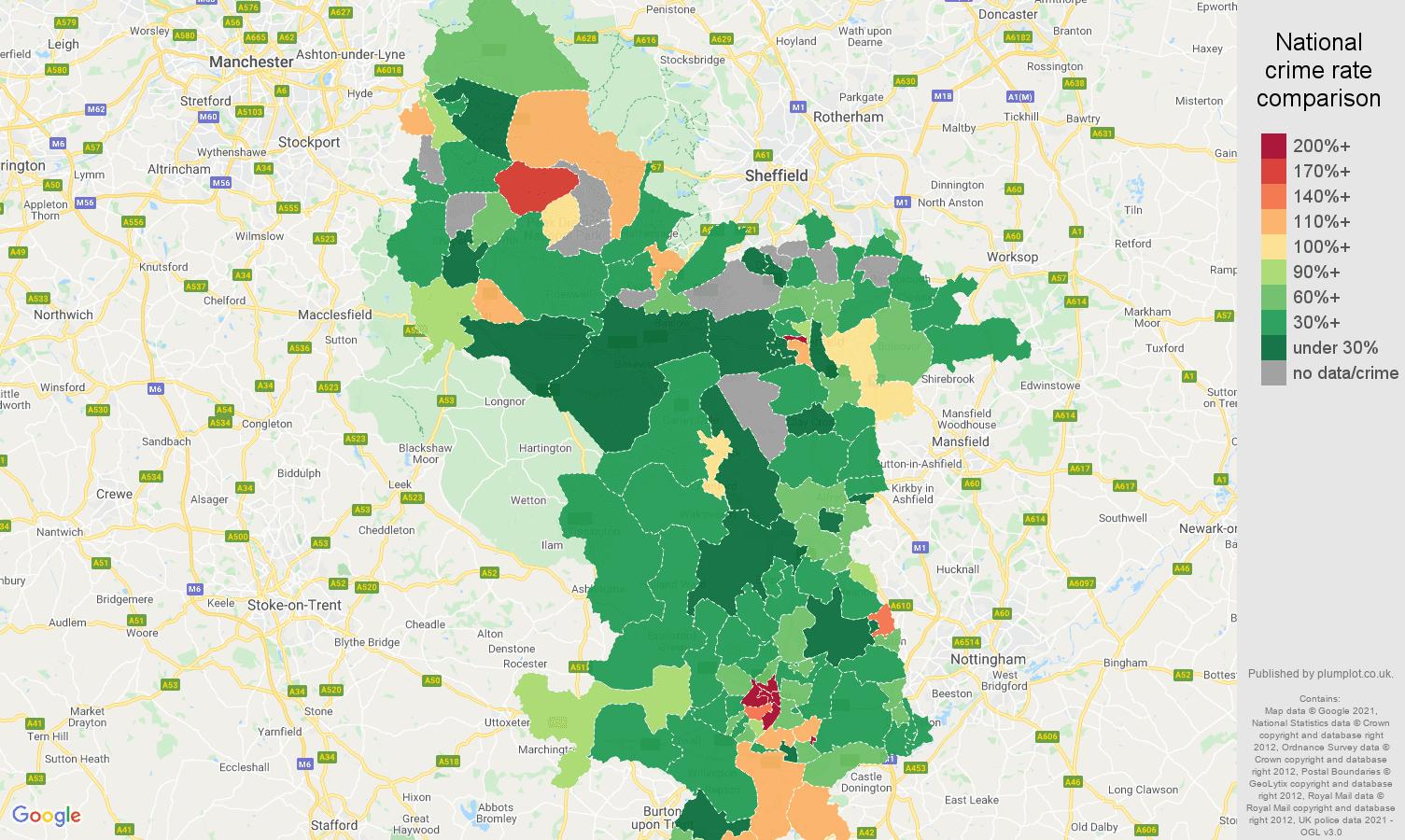 Derbyshire drugs crime rate comparison map