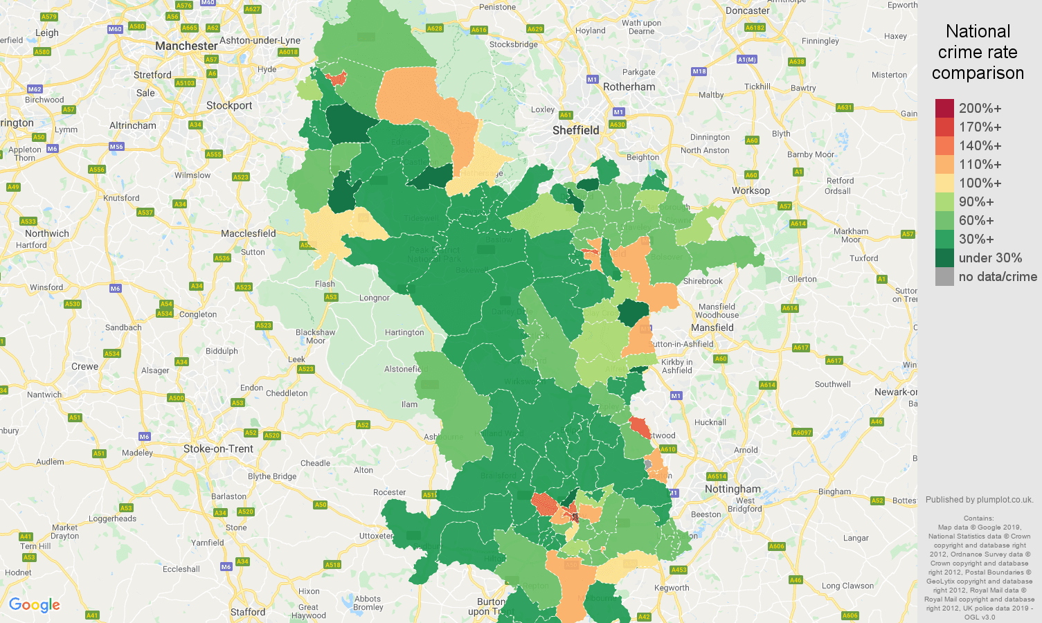 Derbyshire other theft crime rate comparison map