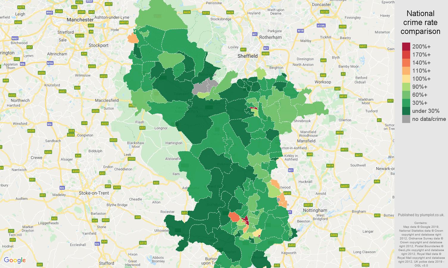 Derbyshire public order crime rate comparison map
