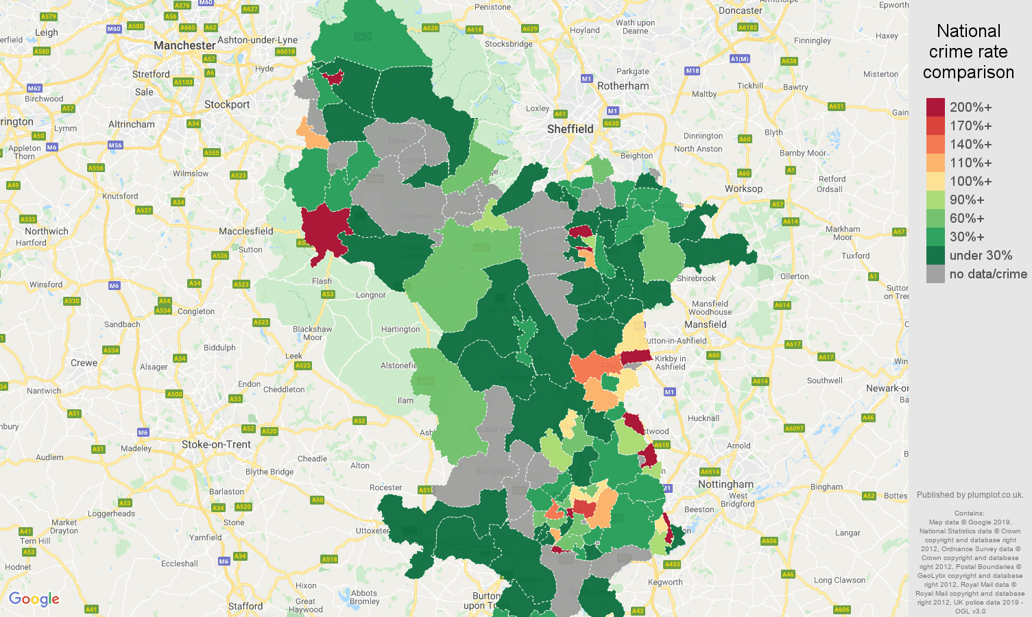 Derbyshire shoplifting crime rate comparison map