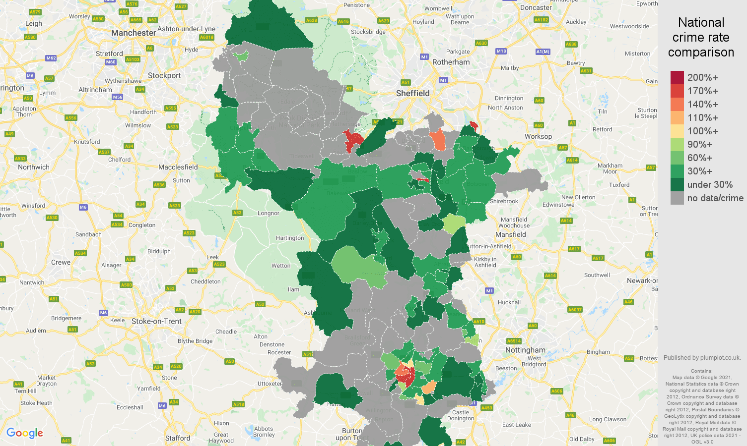 Derbyshire theft from the person crime rate comparison map