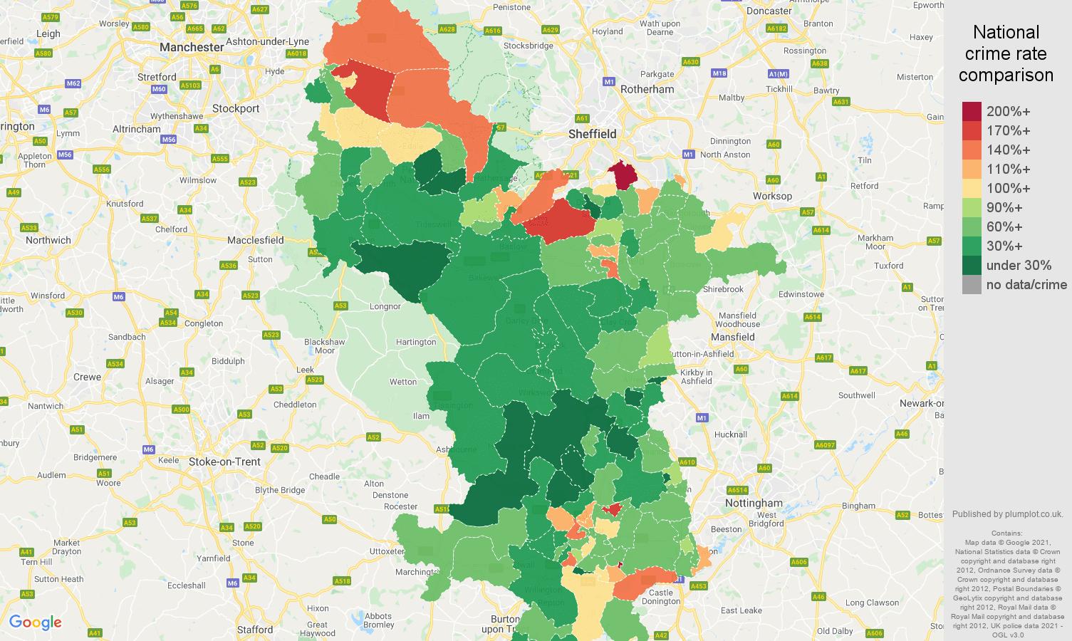 Derbyshire vehicle crime rate comparison map