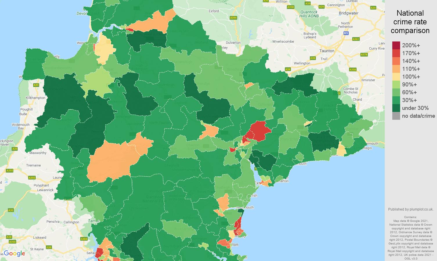 Devon criminal damage and arson crime rate comparison map