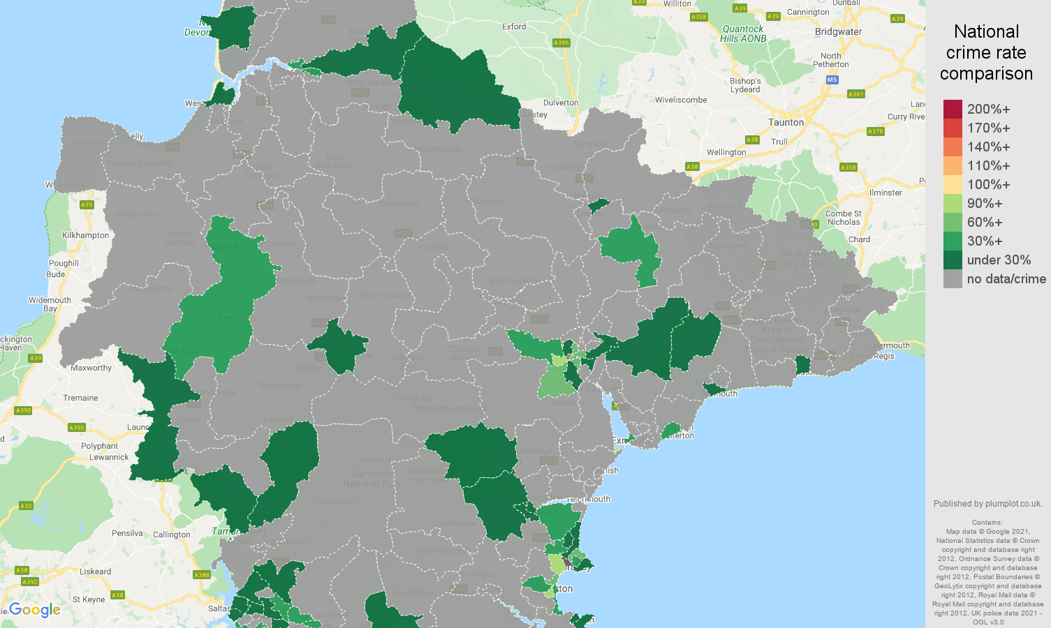Devon theft from the person crime rate comparison map