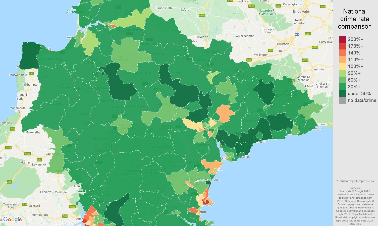 Devon violent crime rate comparison map