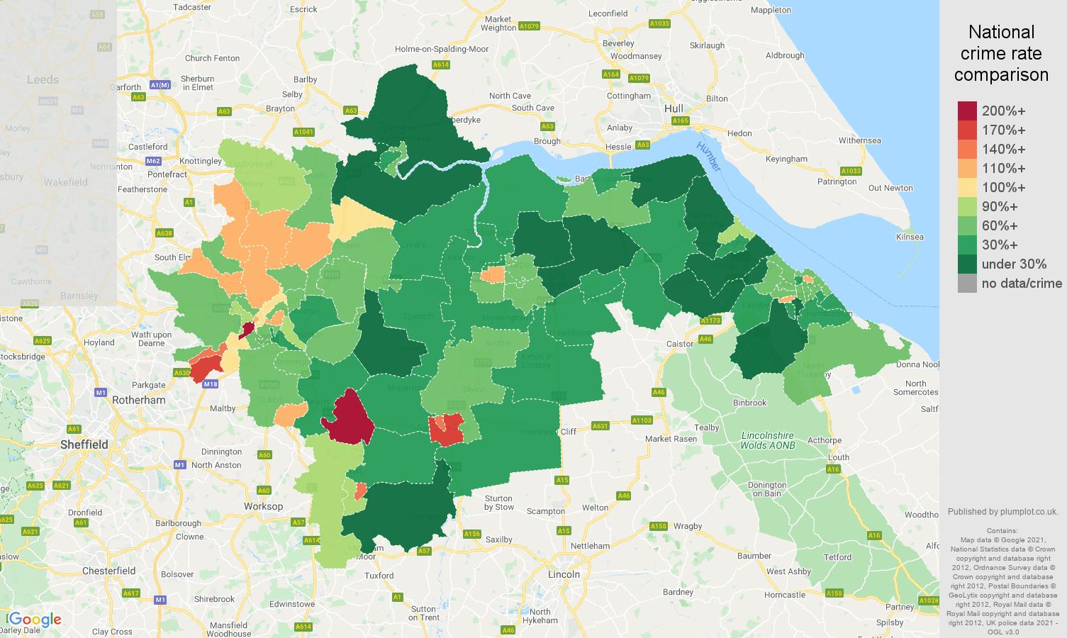 Doncaster antisocial behaviour crime rate comparison map