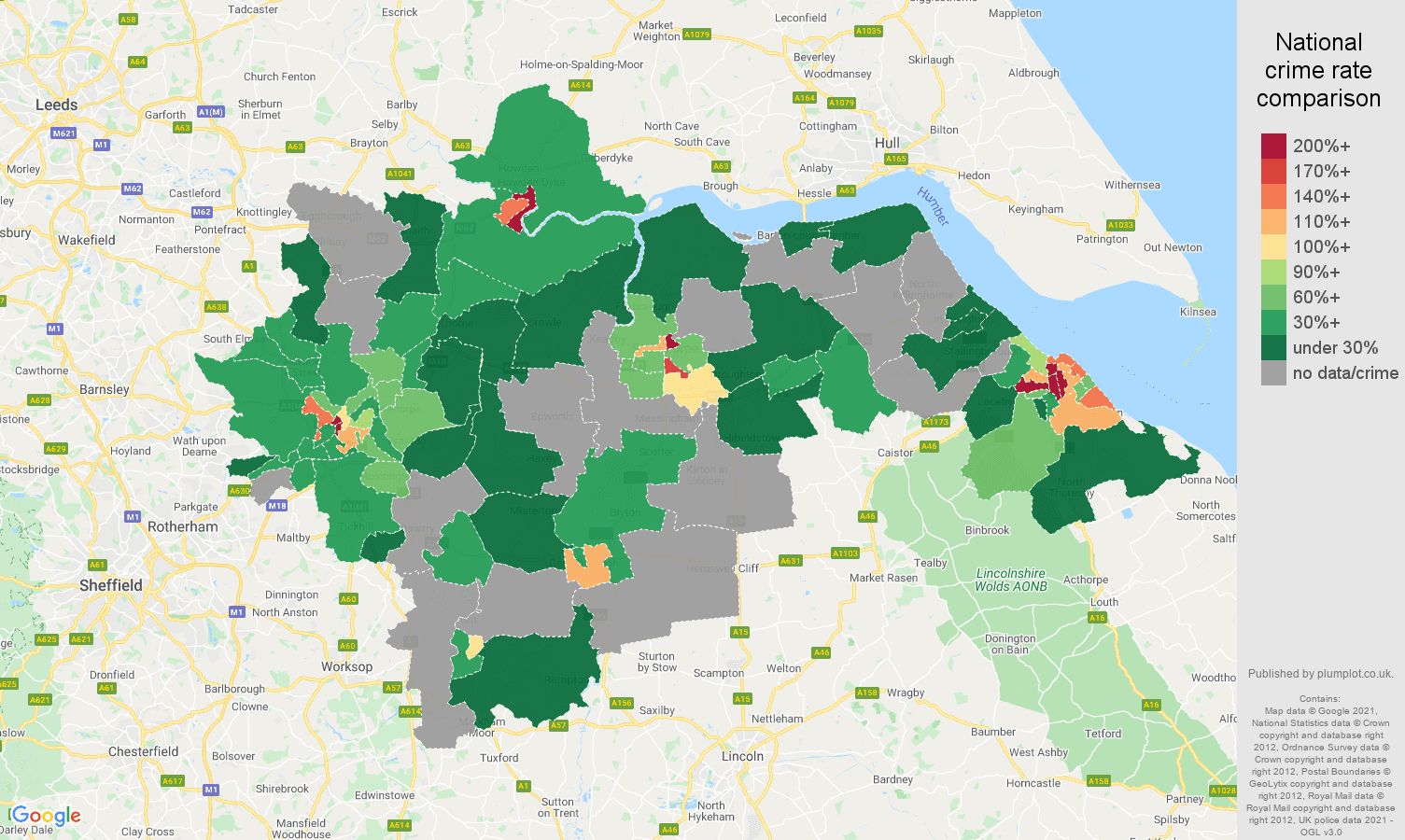 Doncaster bicycle theft crime rate comparison map