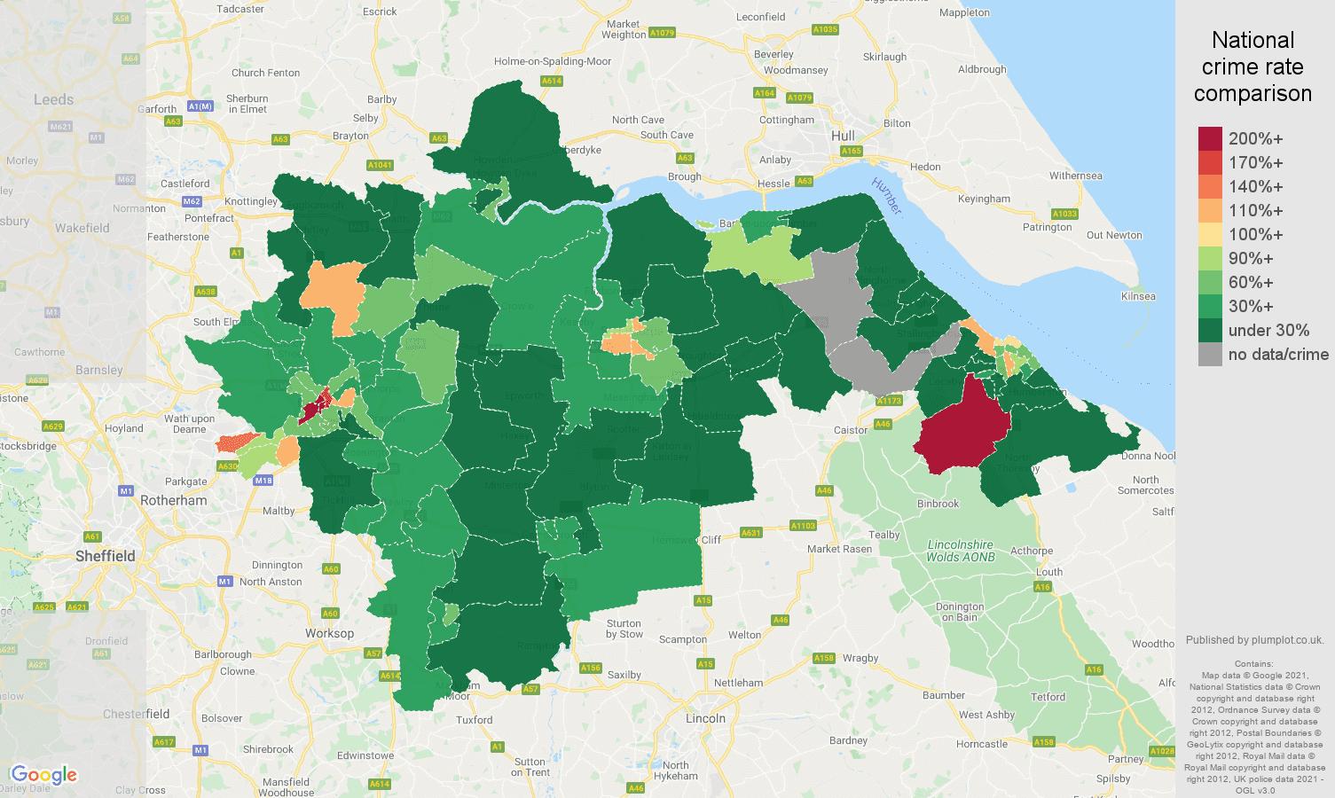 Doncaster drugs crime rate comparison map