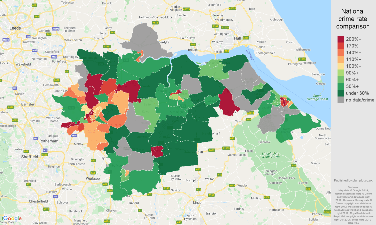 Doncaster possession of weapons crime rate comparison map