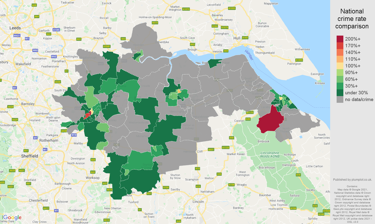 Doncaster theft from the person crime rate comparison map