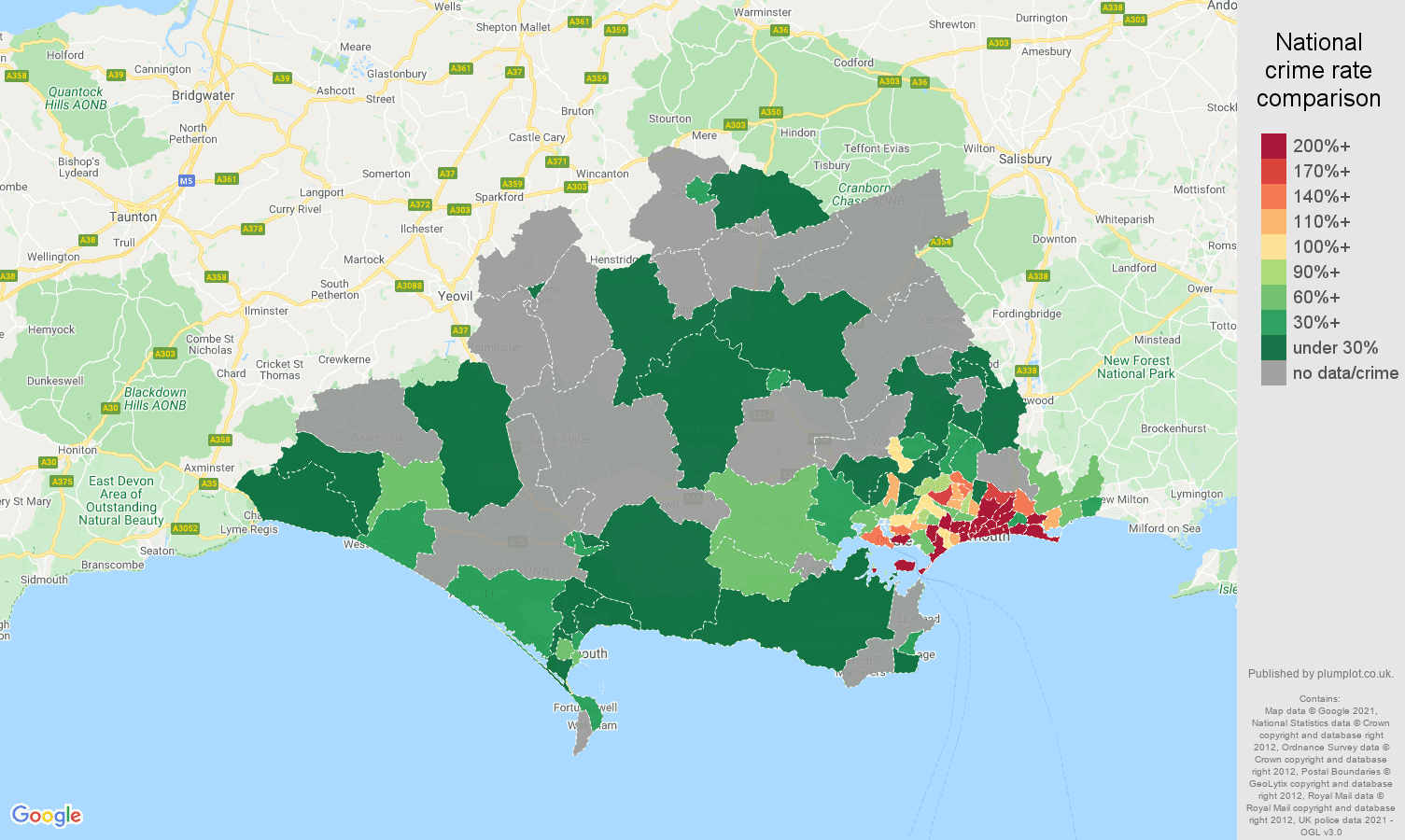 Dorset bicycle theft crime rate comparison map