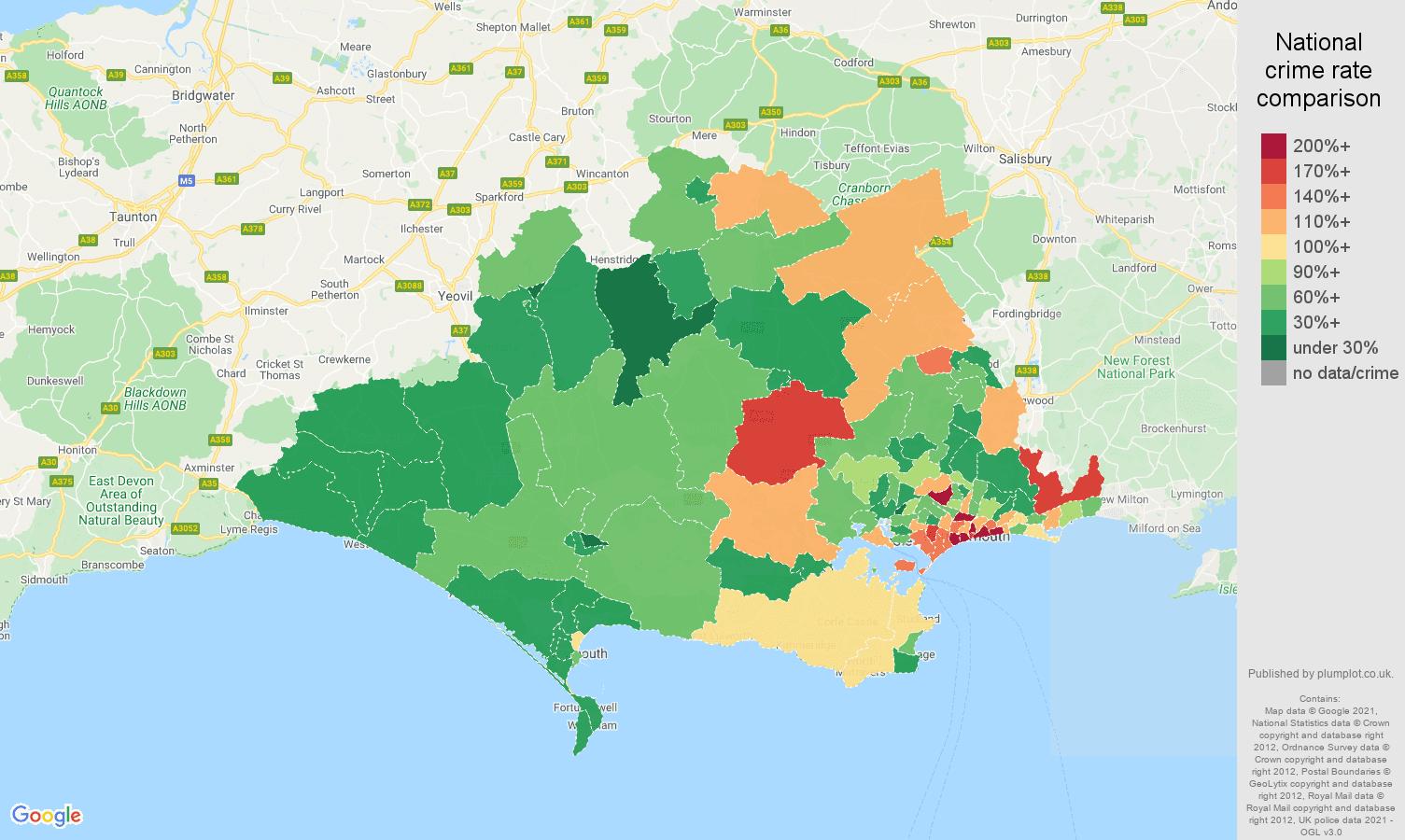 Dorset burglary crime rate comparison map