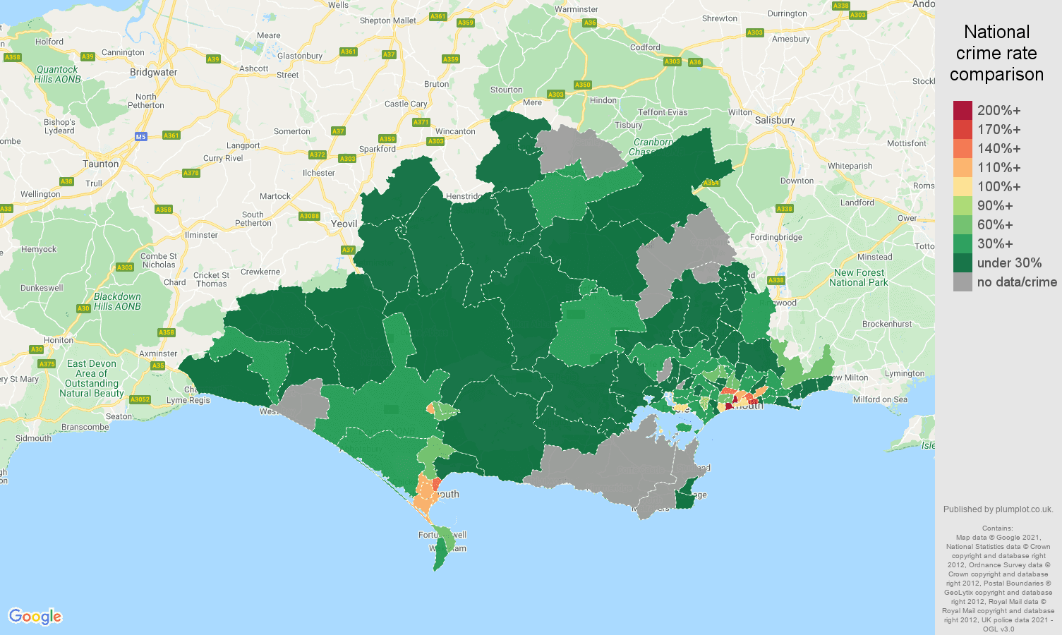 Dorset drugs crime rate comparison map