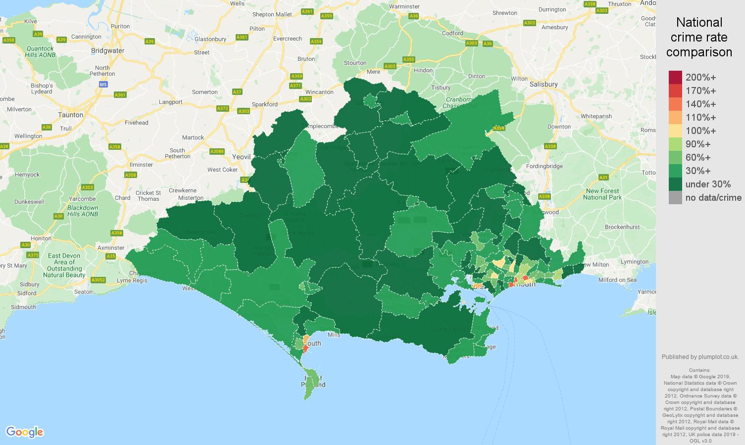 Dorset public order crime rate comparison map