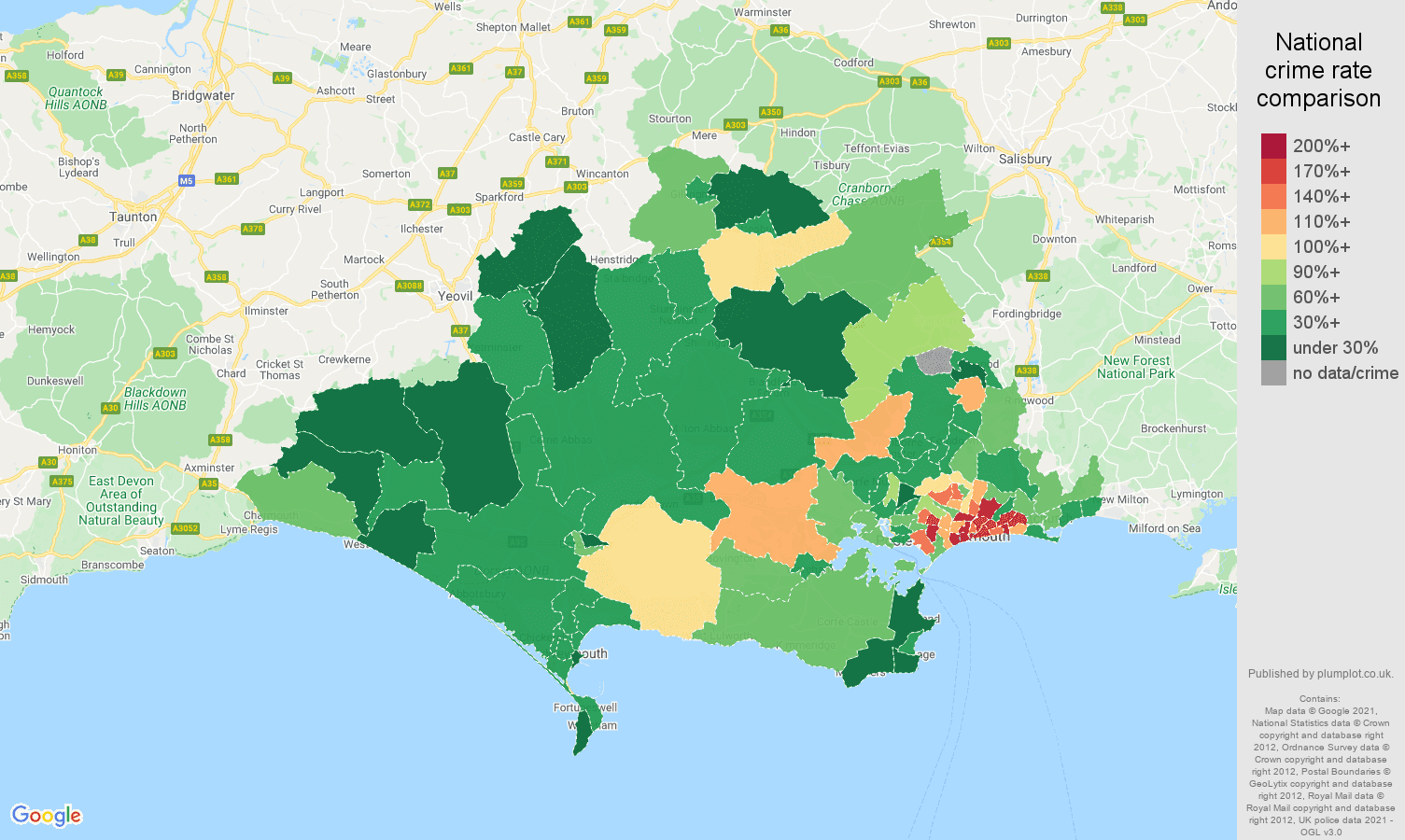 Dorset vehicle crime rate comparison map