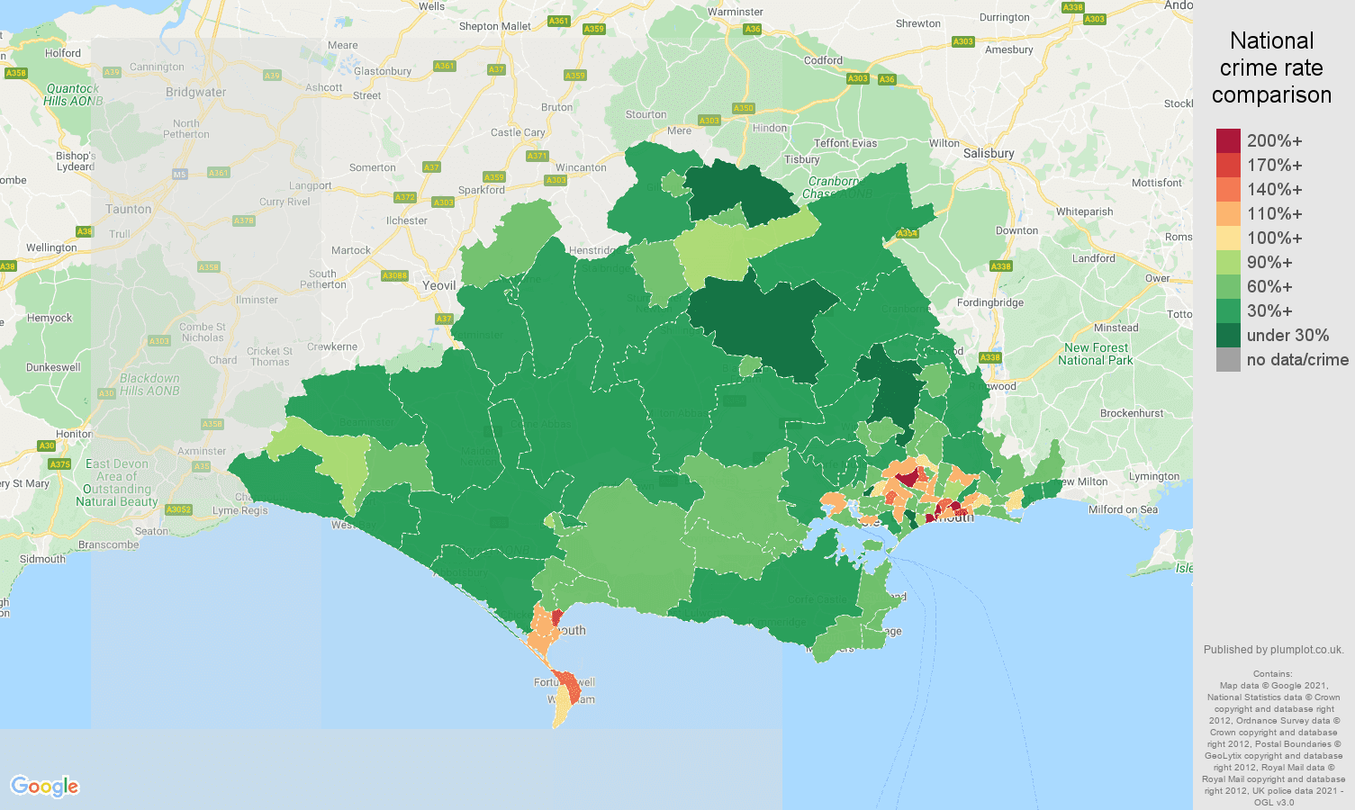 Dorset violent crime rate comparison map