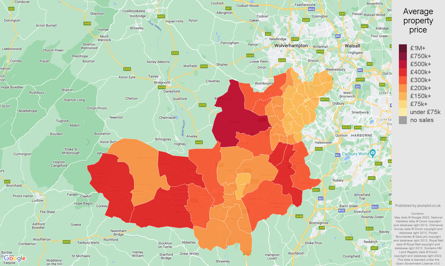 Dudley house prices map