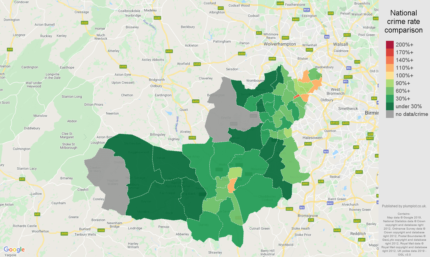 Dudley public order crime rate comparison map