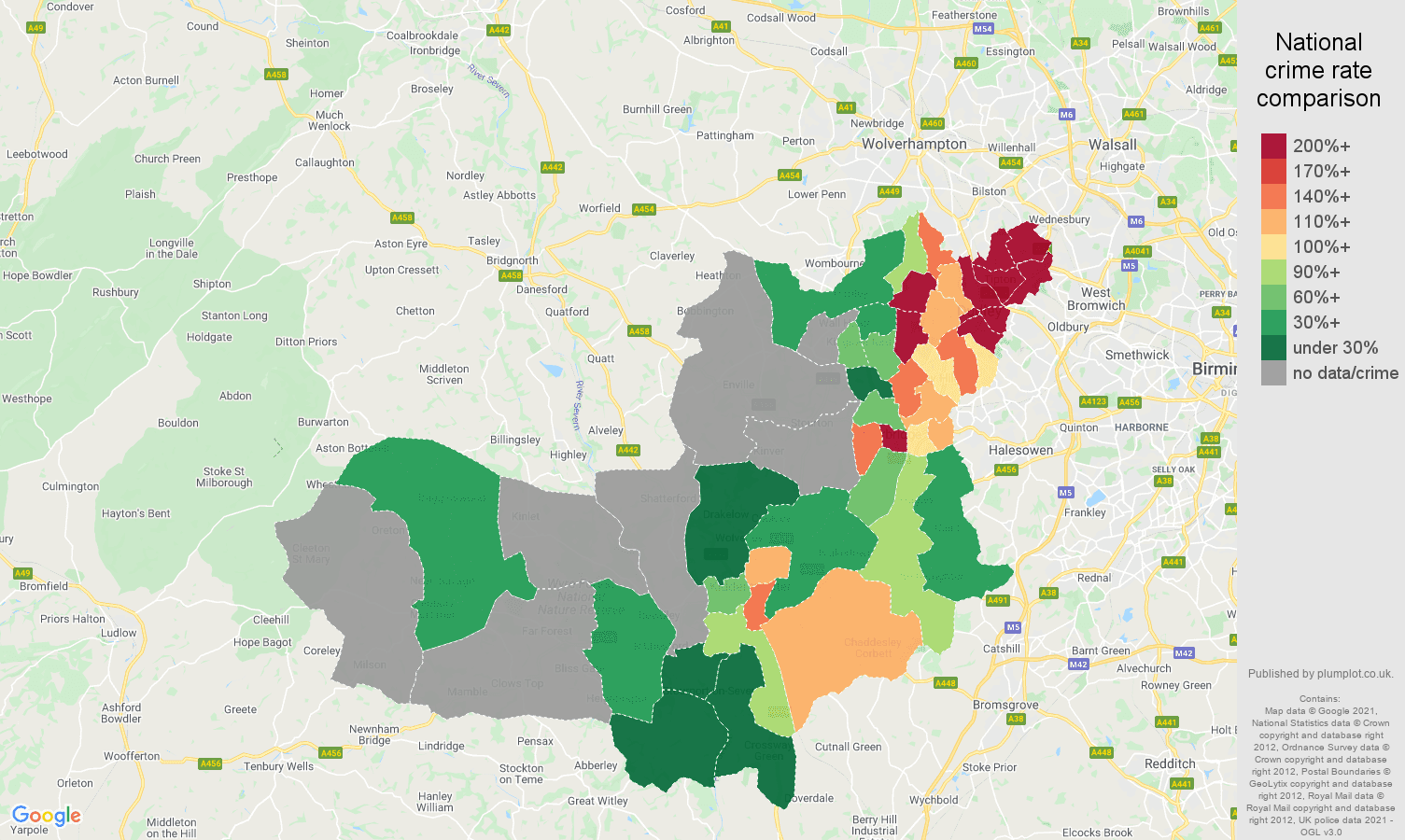 Dudley robbery crime rate comparison map