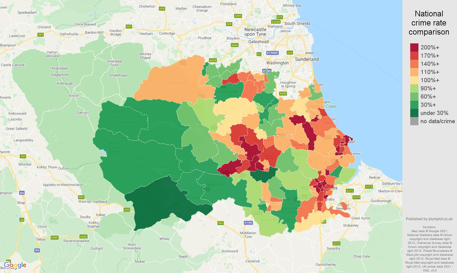 Durham county antisocial behaviour crime rate comparison map