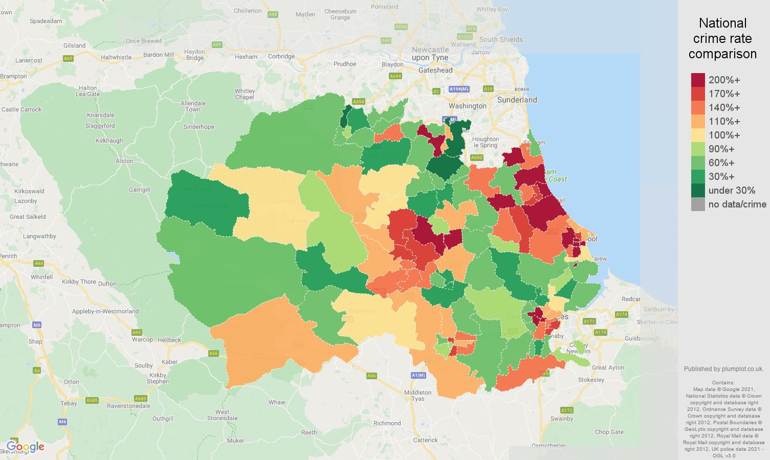Durham county burglary crime rate comparison map