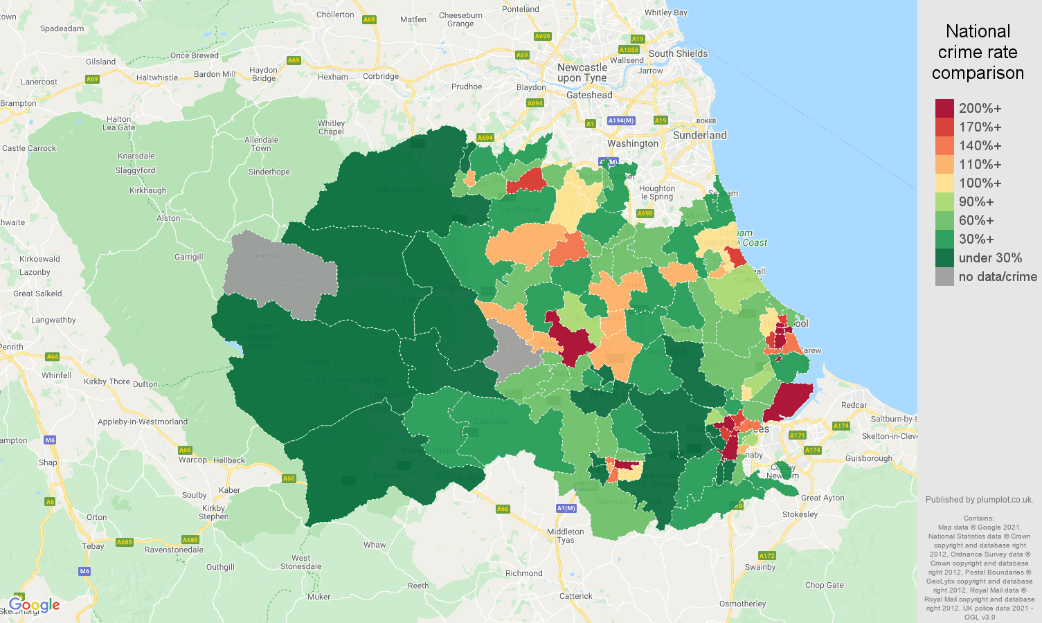 Durham county drugs crime rate comparison map
