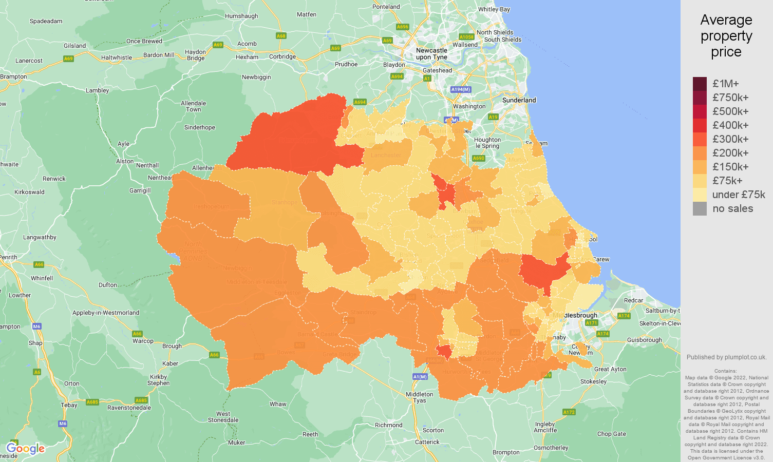 Durham county house prices map