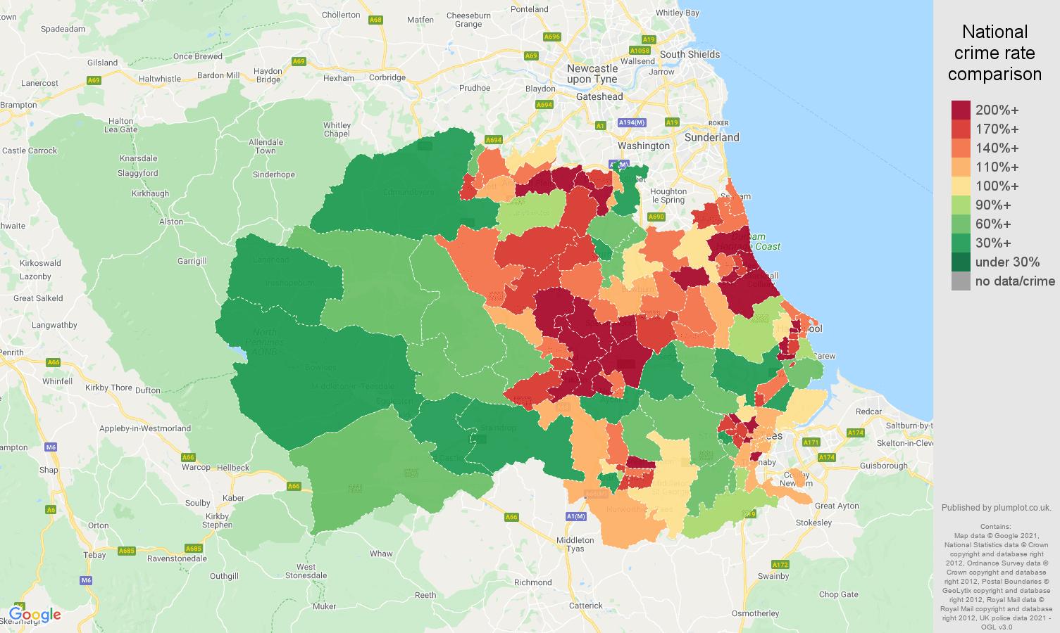 Durham county violent crime rate comparison map