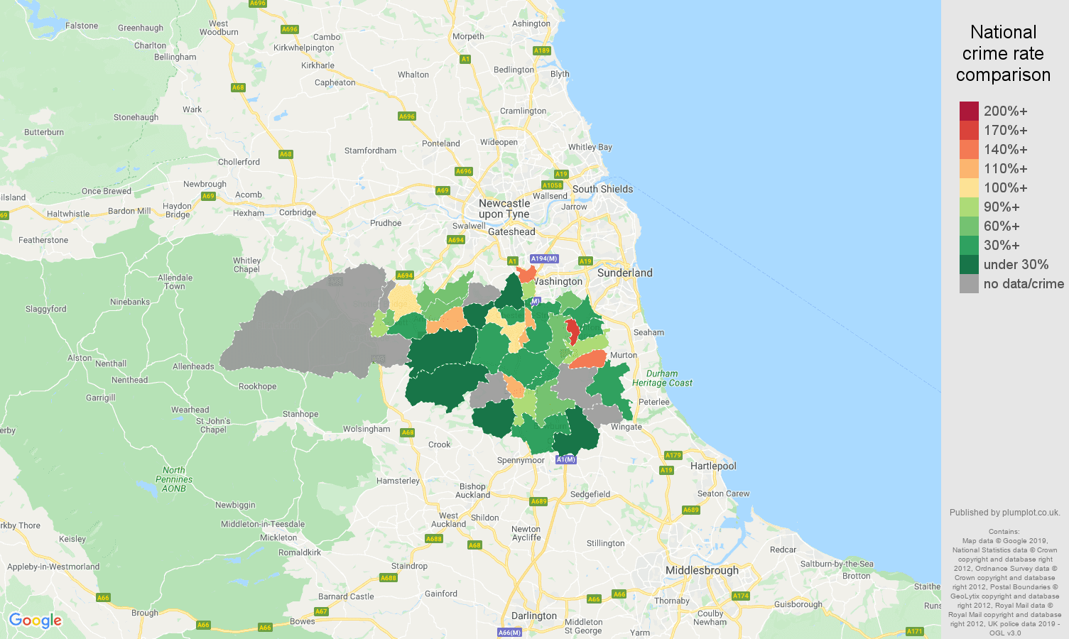 Durham possession of weapons crime rate comparison map