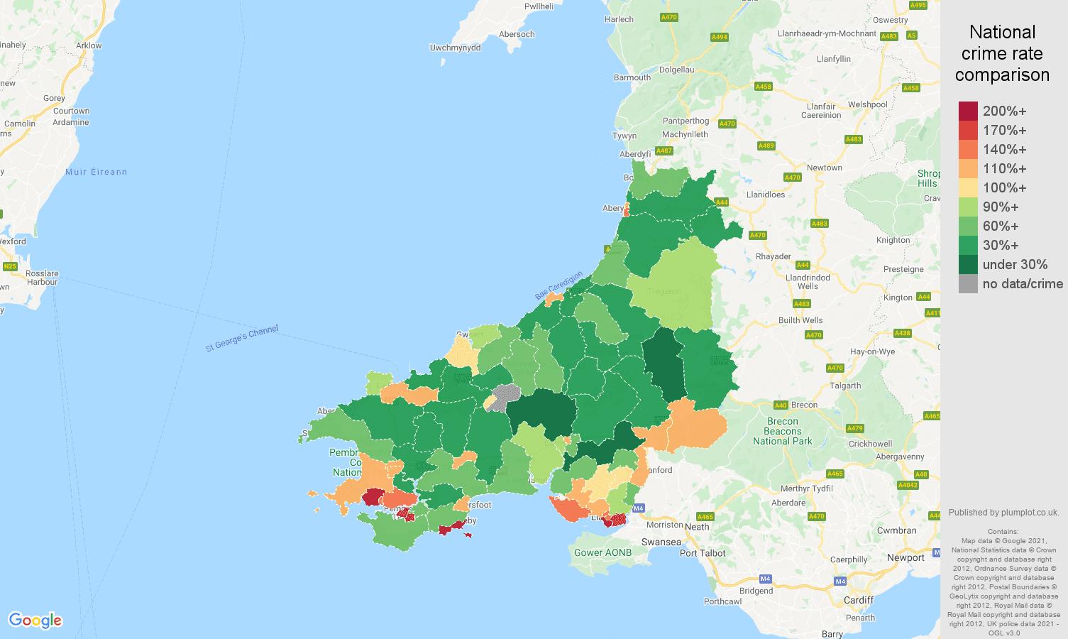 Dyfed antisocial behaviour crime rate comparison map