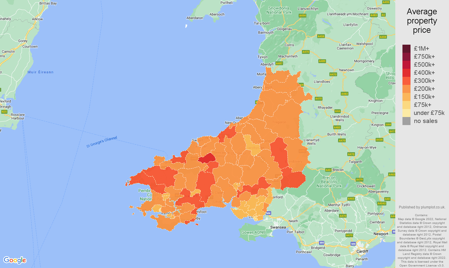 Dyfed house prices map