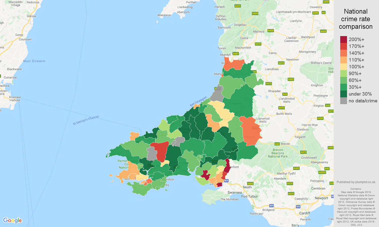 Dyfed other crime rate comparison map