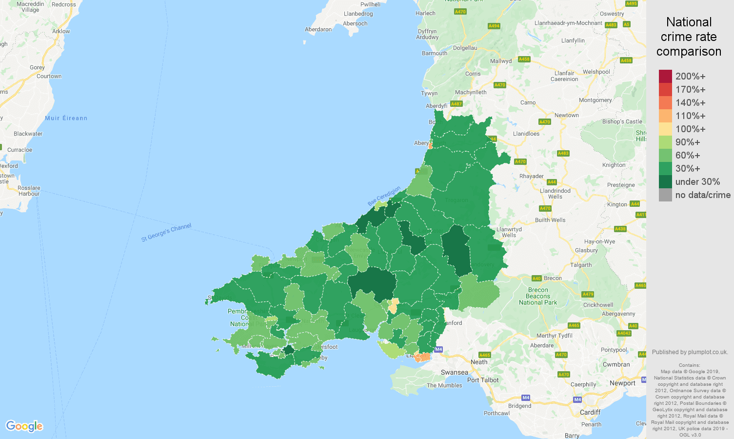 Dyfed other theft crime rate comparison map