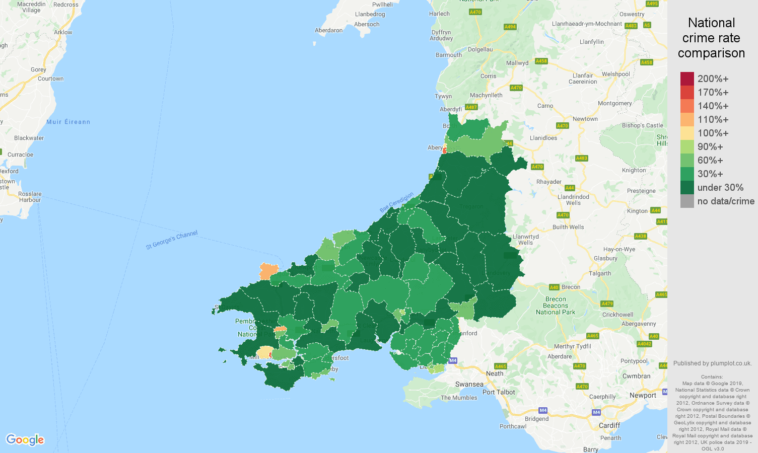 Dyfed public order crime rate comparison map