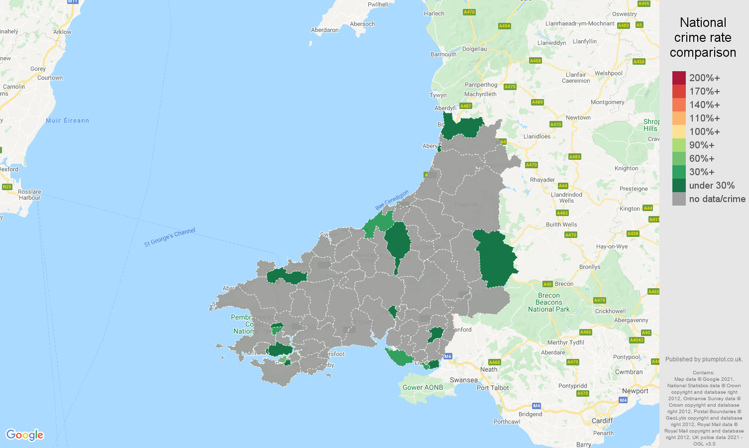 Dyfed robbery crime rate comparison map
