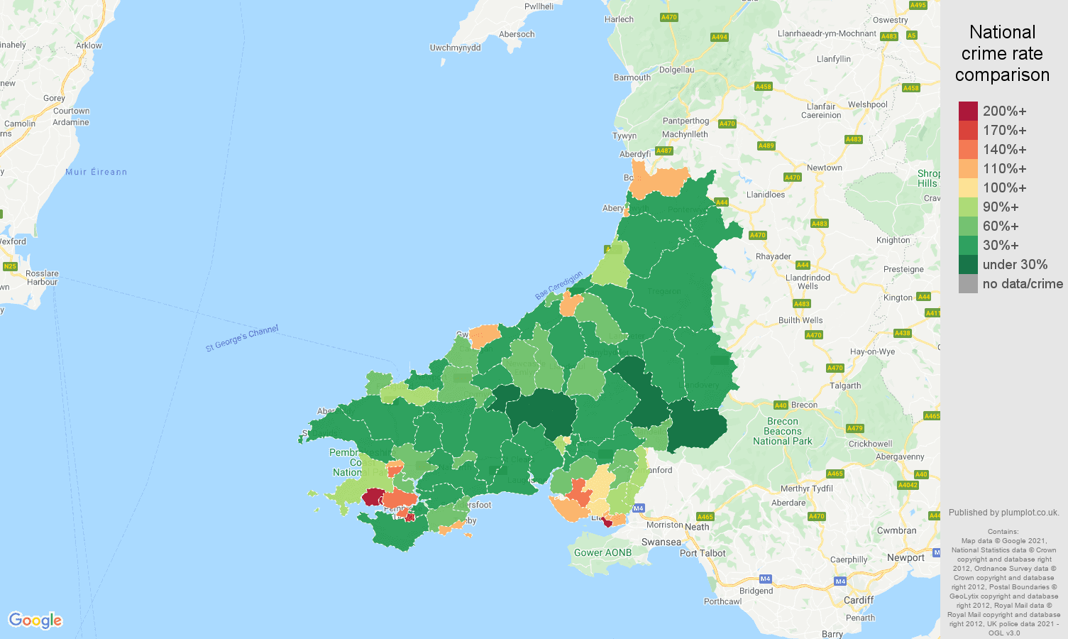 Dyfed violent crime rate comparison map