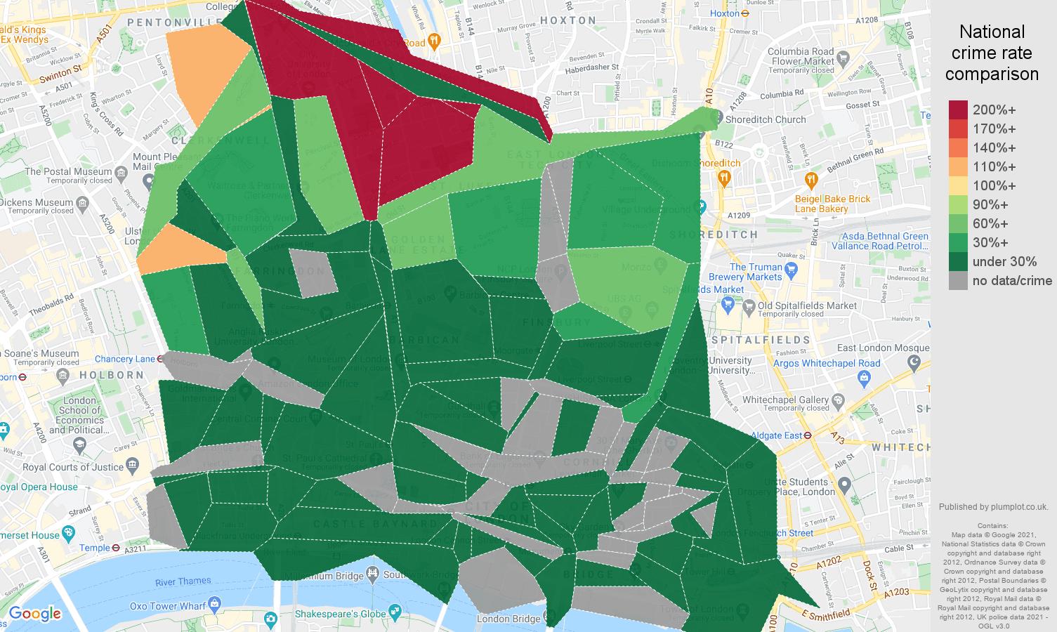 East Central London antisocial behaviour crime rate comparison map