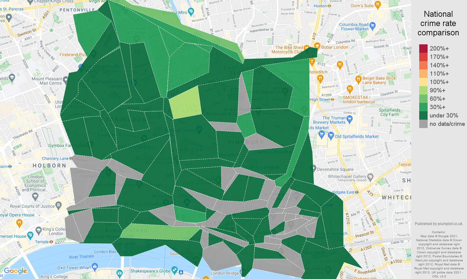 East Central London criminal damage and arson crime rate comparison map