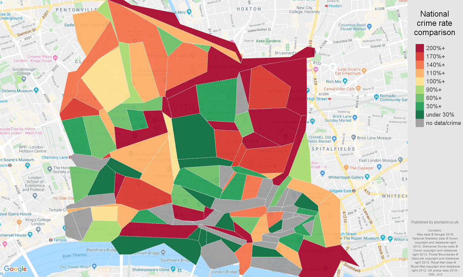 East Central London other theft crime rate comparison map