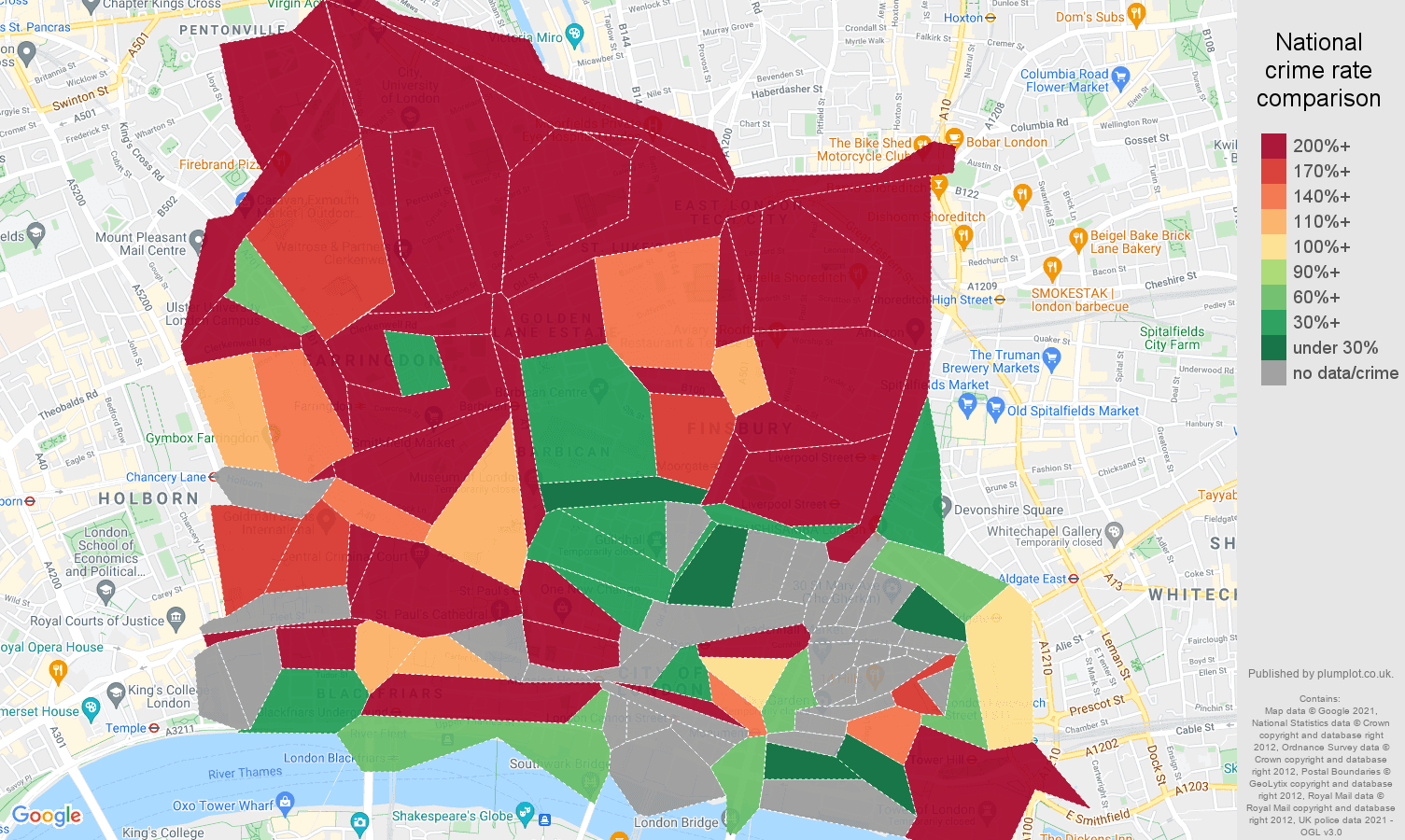 East Central London theft from the person crime rate comparison map