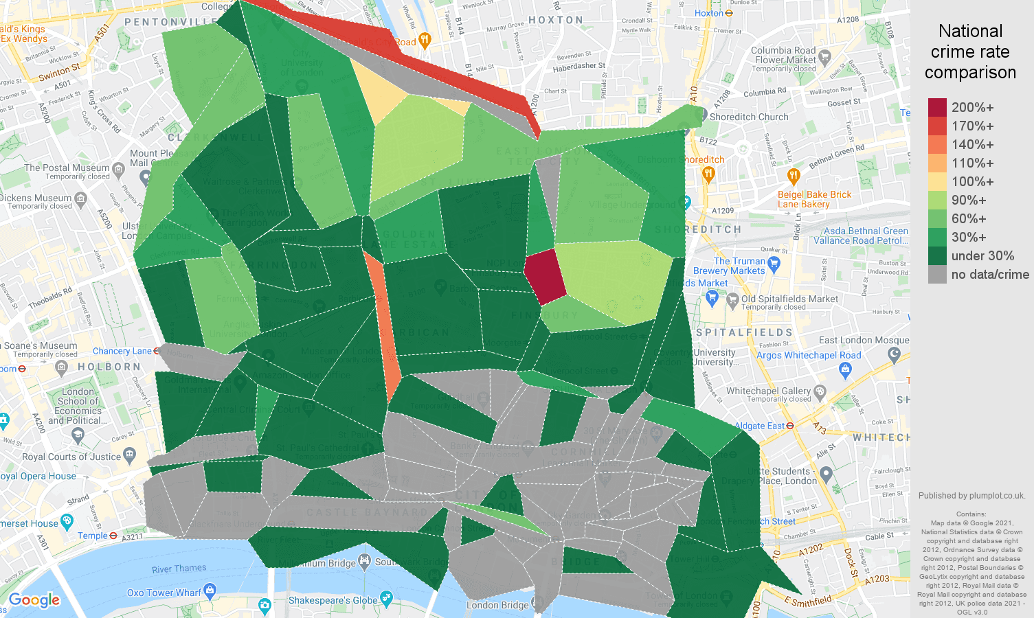 East Central London vehicle crime rate comparison map