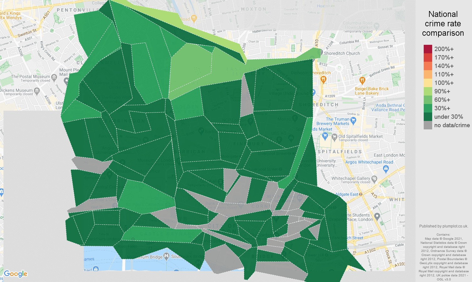 East Central London violent crime rate comparison map