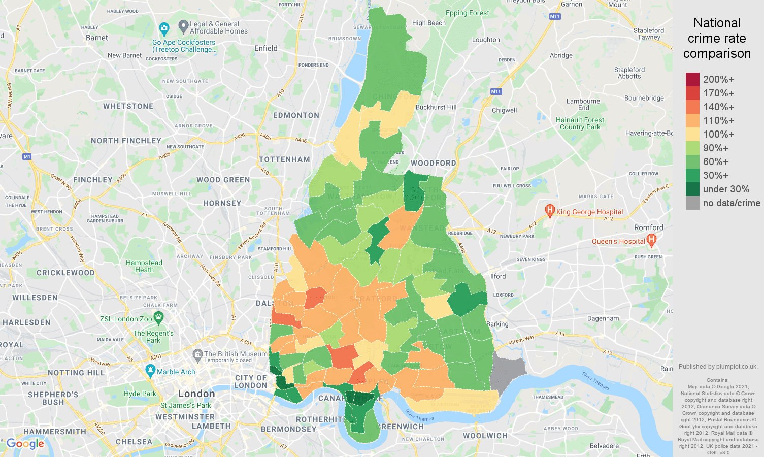 East London criminal damage and arson crime rate comparison map